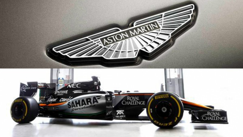 Aston Martin Logo and Force India VJM08B