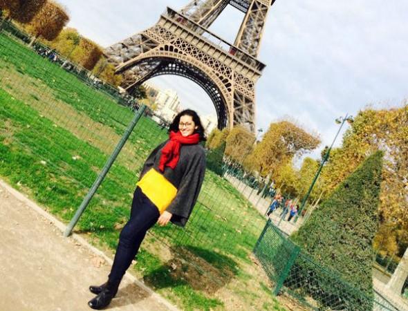 Renu Desai at Eiffel Tower in Paris
