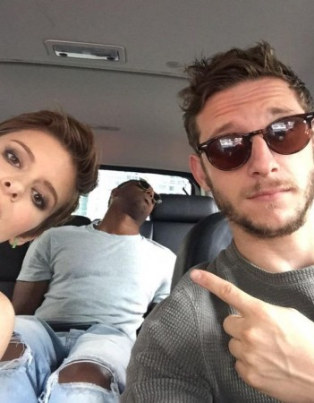 Jamie Bell and Kate Mara with 'Fantastic Four' cast mate Michael B Jordon