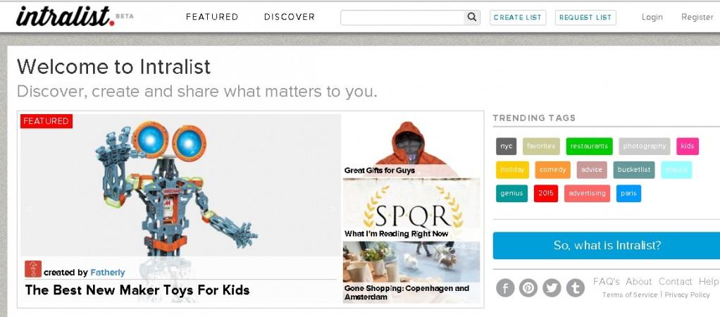 Intralist website screenshot
