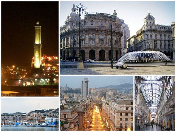 A collage of Genoa, clockwise from top left: Torre della Lanterna, Piazza de Ferrari, Galleria Mazzini, Brigata Liguria Street, view of San Teodoro from Port of Genoa
