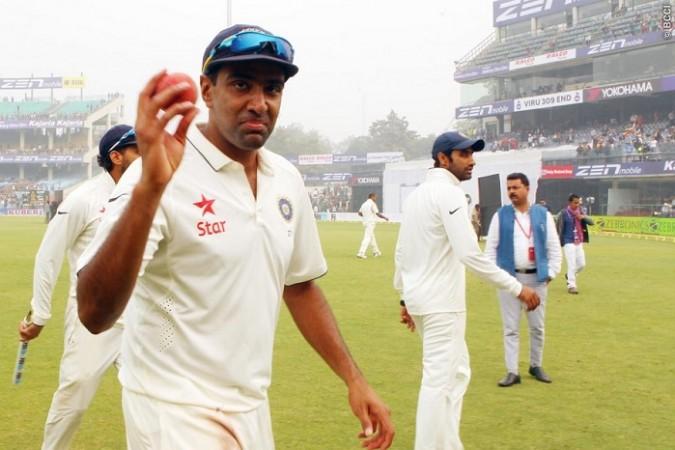 R Ashwin India five-for ball