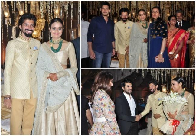 Mahesh Babu, Ram Charan with their wives at Priyanka Dutt and Nag Ashwin's wedding reception