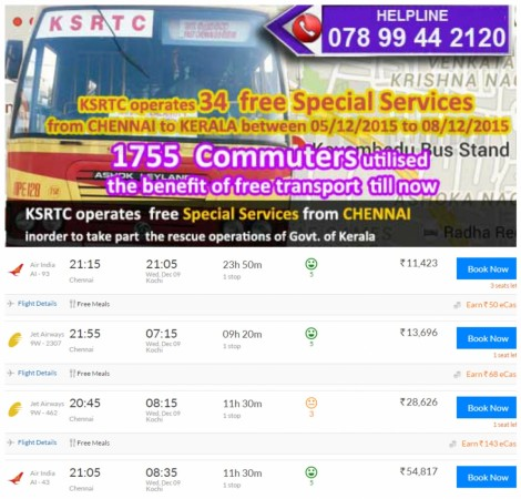 free services from Chennai by KSRTC
