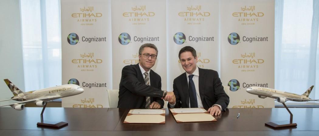 Etihad Airways and Cognizant sign the strategic agreement.
