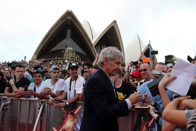 Harrison Ford at Sydney Opera House promoting The Force Awakens