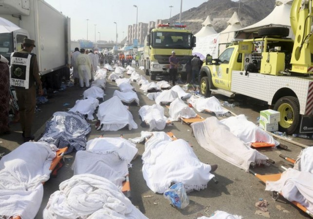 Bodies of Muslim pilgrims are seen after a stampede at Mina, outside the holy Muslim city of Mecca.