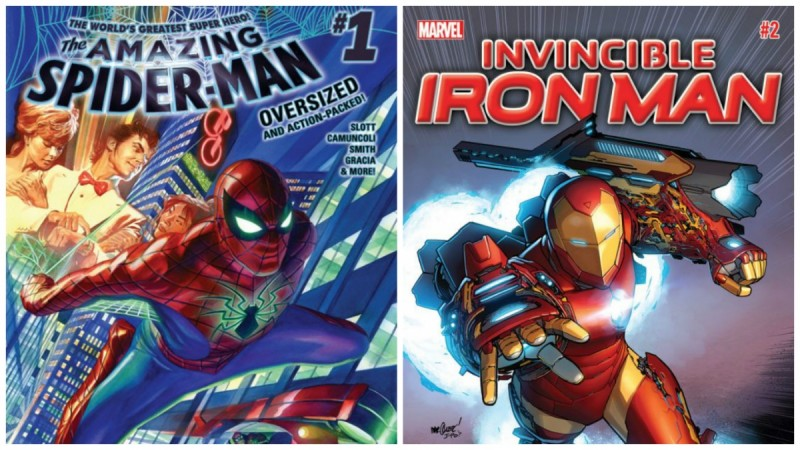 Covers of 2015's The Amazing Spider-Man #1 and Invincible Iron Man #1