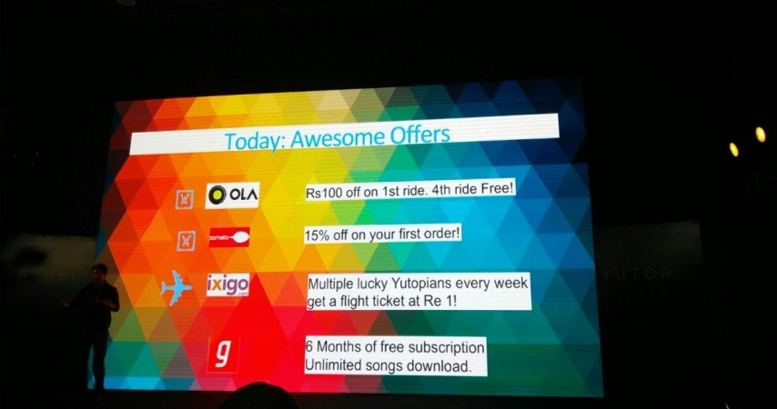 Yutopia comes with 6months of free subscription for Gaana app.