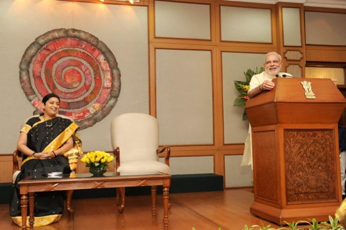 HRD minister Smriti Irani with PM Narendra Modi