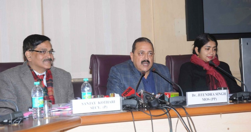 Minister of State for Development of North Eastern Region (I/C), Prime Minister's Office, Personnel, Public Grievances & Pensions, Department of Atomic Energy and Department of Space Jitendra Singh addresses a press conference on good governance initiati