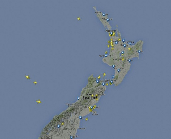 Flight plane showing flights currently flying over NZ