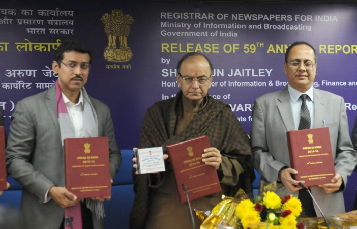 "Union Minister for Finance, Corporate Affairs and Information & Broadcasting Arun Jaitley releases the 59th annual report on Print Media, ""Press in India"", prepared by Registrar of Newspapers for India, in New Delhi on December 29, 2015. Minister of State"