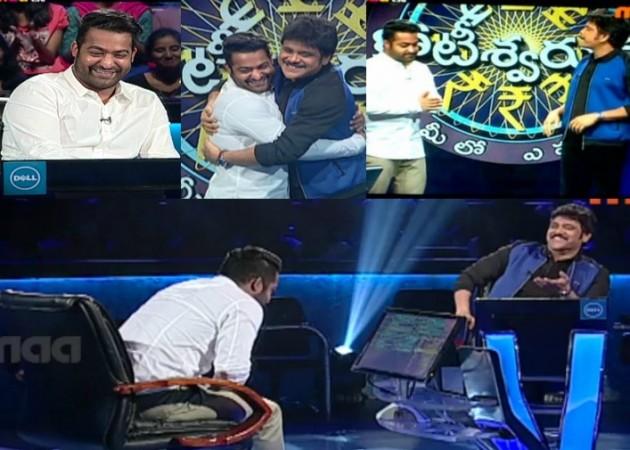 Akkineni Nagarjuna with Junior NTR on Meelo Evaru Koteeswarudu 3 MEK3