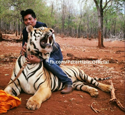 Peter Hein with a tiger at Mohanlal's
