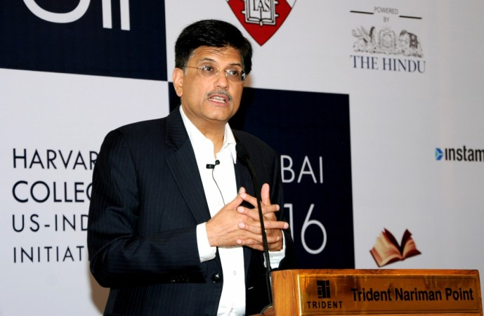 Minister of State (Independent Charge) for Power, Coal and New and Renewable Energy Piyush Goyal addresses the Harvard College US-India Initiative conference in Mumbai on January 9, 2016.