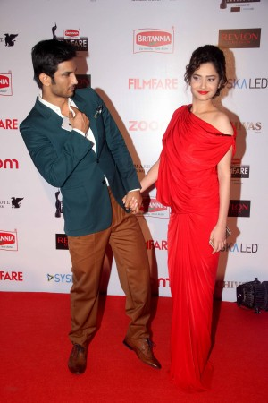 Sushant Singh Rajput and Ankita Lokhande at Filmfare Pre-award party