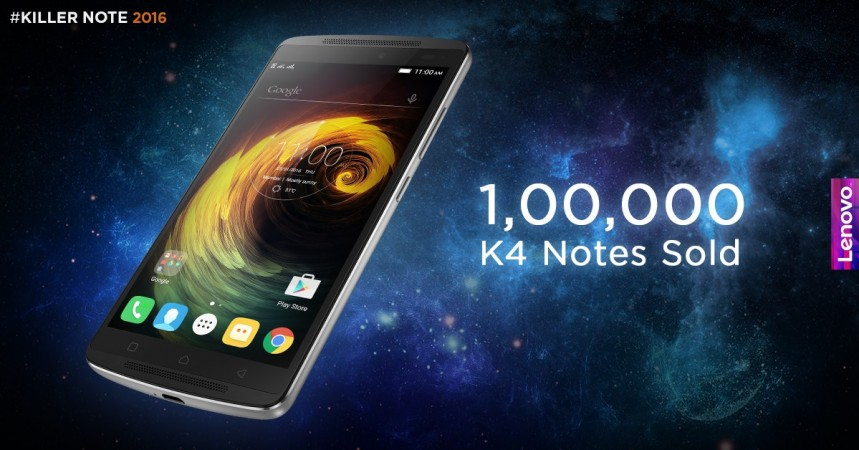 1 lakh units of Lenovo K4 Notes sold in just two flash sales in India