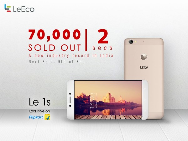 LeEco Le 1s was sold out in just 2 seconds during its first flash sale in India for 70,000 units