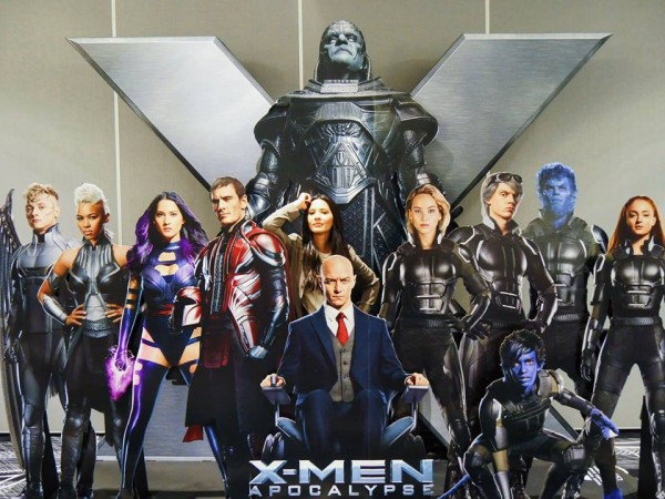 A 'X-Men: Apocalypse' standee in a theater