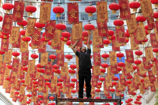 Chinese lanterns are being arranged as part of the decorations for Chinese New Year 2016 celebrations.
