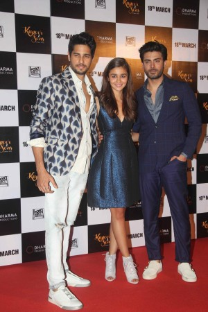 Sidharth Malhotra, Alia Bhatt and Fawad Khan at the trailer launch event of 'Kapoor and Sons'