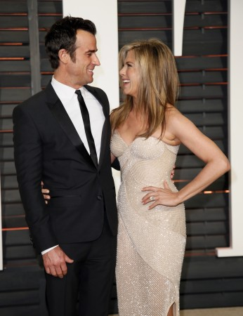Jennifer Aniston and Justin Theroux at the 2015 Vanity Fair Oscar Party.