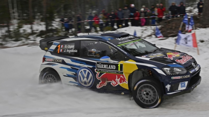 Sebastien Ogier driving VW Polo in Rally Sweden 2016