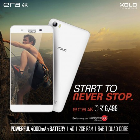 Xolo launches Era 4K on Gadgets 360 for Rs 6,499
