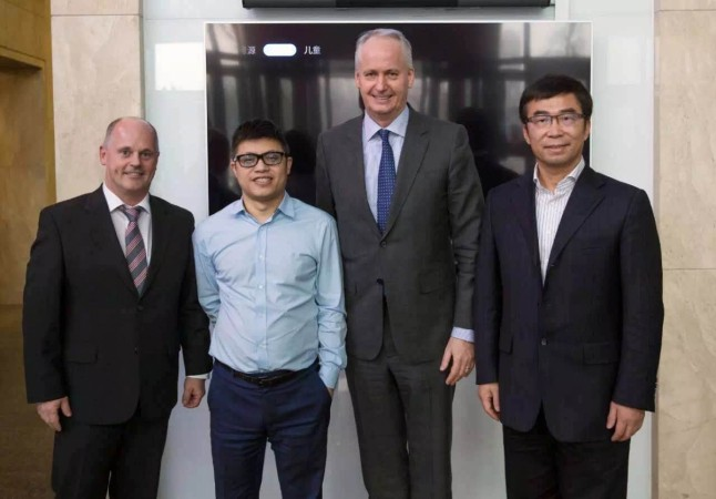 (From left to right) Prof. Hans Georg Engel, Liu Hong, Hubertus Troska and Ding Lei at LeEco Beijing HQ