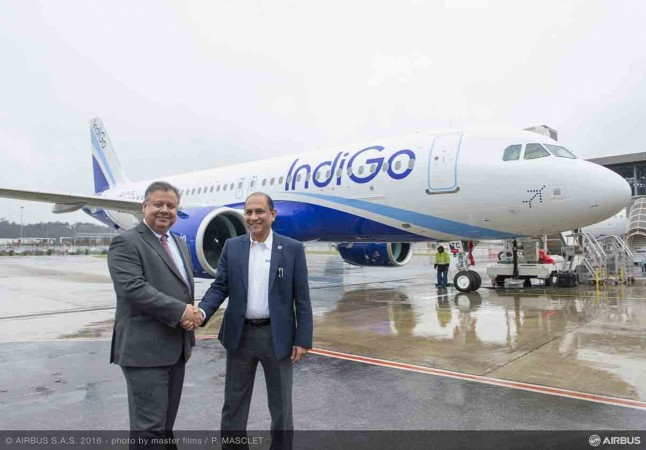 Dr. Kiran Rao, executive vice president — strategy and marketing at Airbus and Captain Ashim Mittra, vice president — flight operations at IndiGo at the hand-over of Asia's first A320neo in Toulouse.