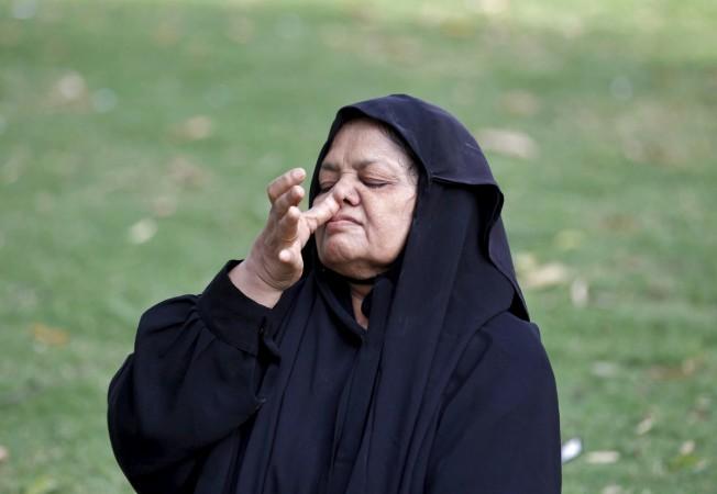 muslim woman doing yoga
