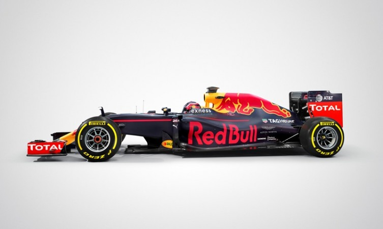 Red Bull's RB12 formula one car with Aston Martin logo