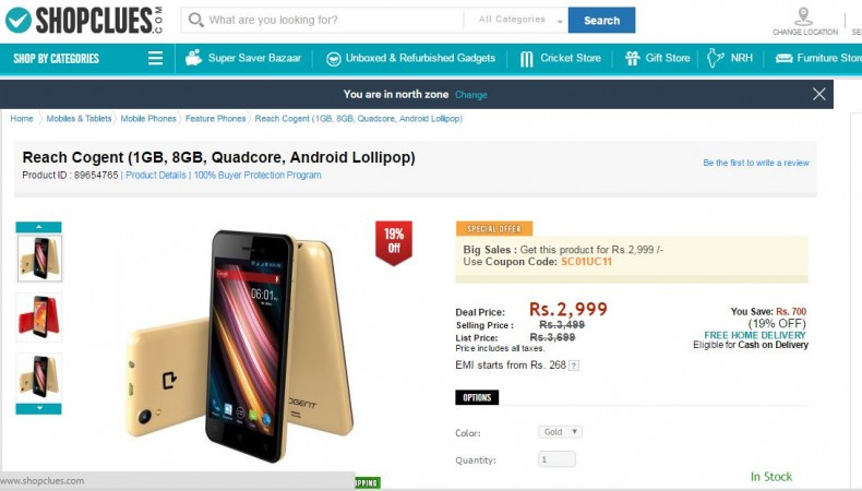 Cogent smartphone launched at Rs 2,999 exclusively on ShopClues