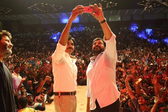 Chiranjeevi and Pawan Kalyan's selfie moment