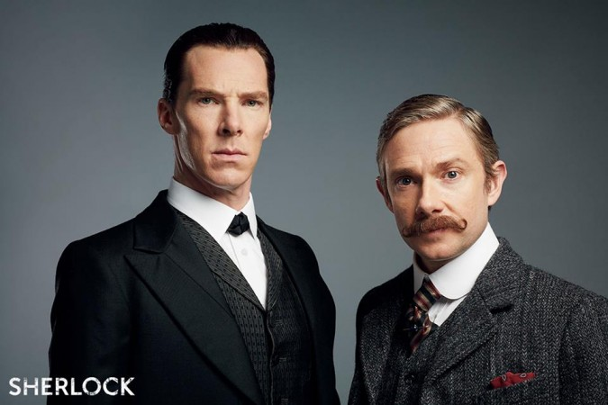 Benedict Cumberbatch and Martin Freeman as Sherlock and Watson