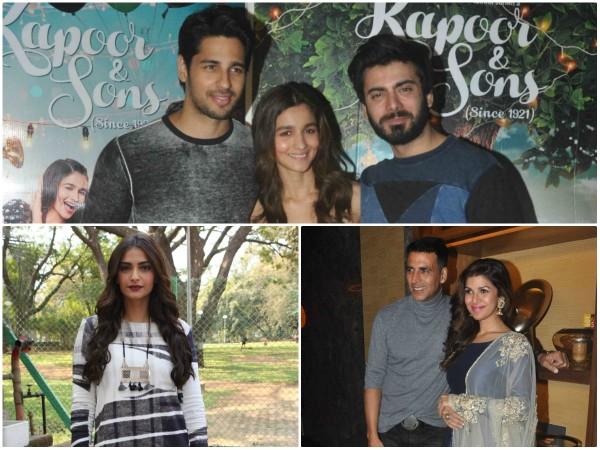 Sidharth Malhotra, Alia Bhatt, Fawad Afzal Khan, Nimrat Kaur, Akshay Kumar, Sonam Kapoor