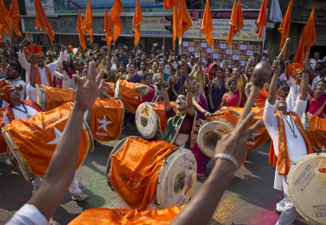 Gudi Padwa festival. Pictured: Maharashtrians dressed in traditional costumes celebrate the Gudi Padwa festival.