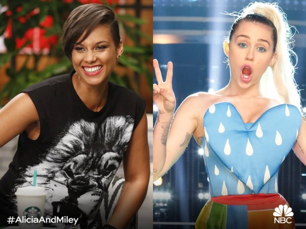 Miley Cyrus (Right) with fellow 'The Voice' Season 11 coach Alicia Keys (Left)