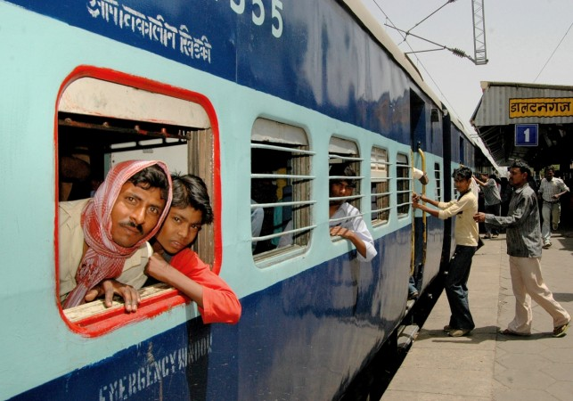 A passenger train arrives at the Daltangunj railway station near the eastern Indian city of Ranchi