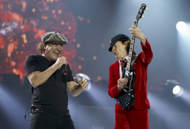 Brian Johnson with AC/DC bandmate Angus Young