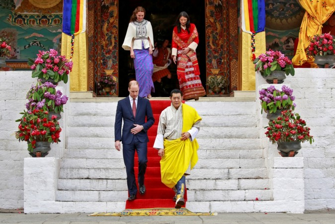 Kate Middleton and Prince William at Tashichho Dzong temple