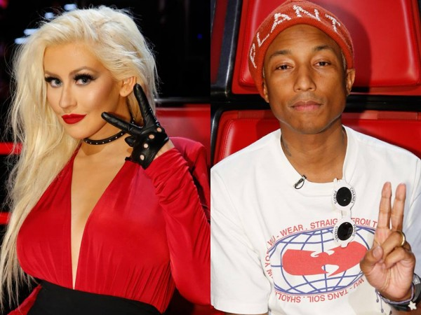Christina Aguilera and Pharrell Williams on 'The Voice US' Season 10