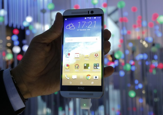The new HTC One M9 smarphone is displayed during the Mobile World Congress
