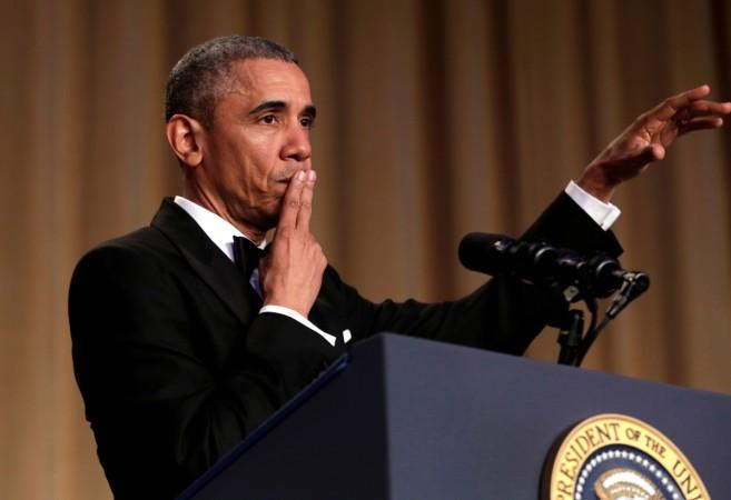 President Barack Obama delivers his speech at the White House Correspondent's Dinner 2016