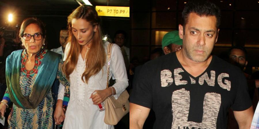 Salman Khan with Iulia Vantur and his mother Salma Khan at Mumbai airport