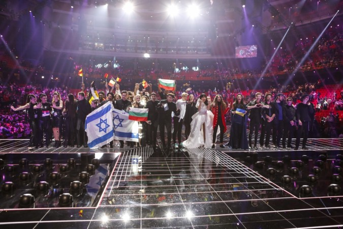The ten winners from the second Semi-Final of Eurovision Song Contest 2016 gather on stage at the Globe Arena