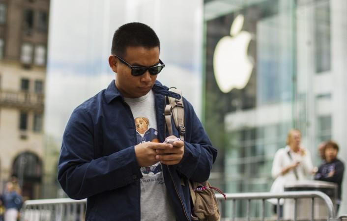 iPhone man typing