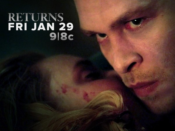 Joseph Morgan as Klaus Mikaelson holds Camile (Leah Pipes)