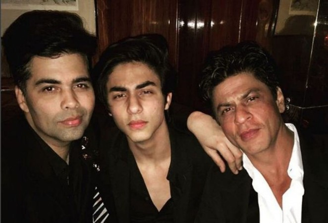 Shah Rukh Khan with son Aryan at Karan Johar's birthday bash